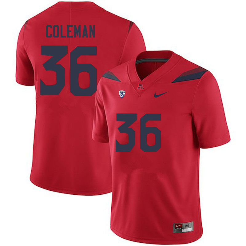 Men #36 Bryce Coleman Arizona Wildcats College Football Jerseys Sale-Red