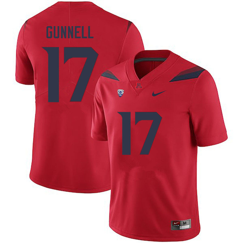 Men #17 Grant Gunnell Arizona Wildcats College Football Jerseys Sale-Red