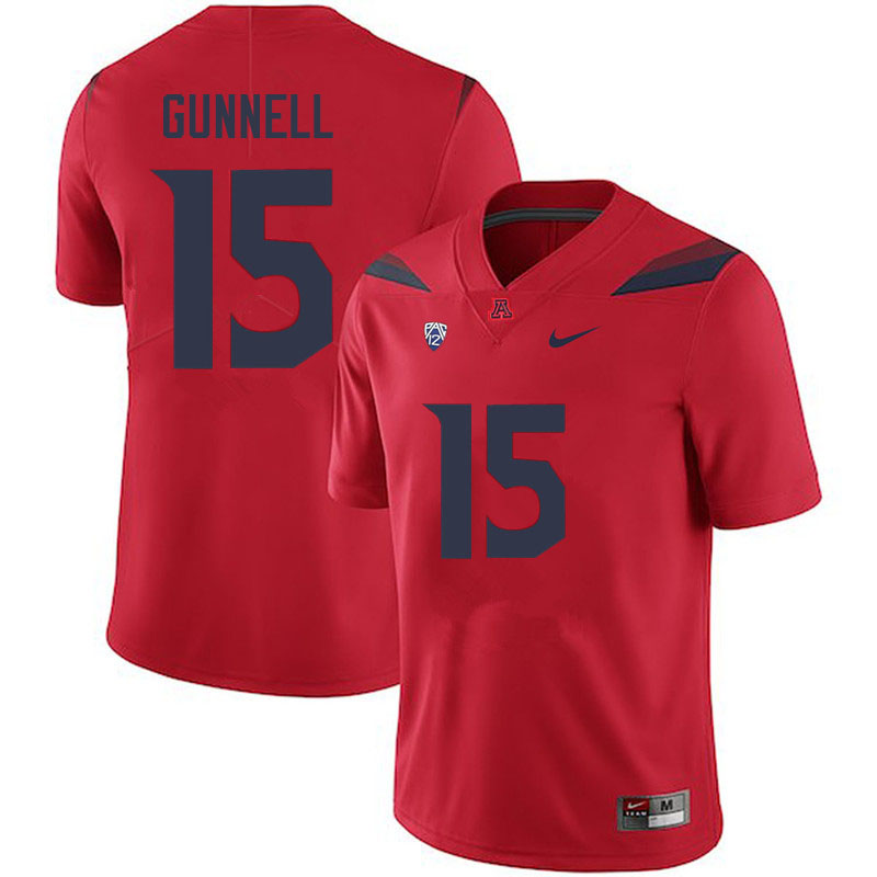 Men #15 William Gunnell Arizona Wildcats College Football Jerseys Sale-Red