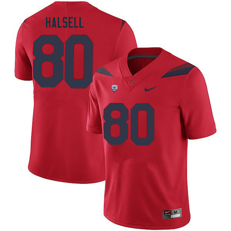 Men #80 Nathan Halsell Arizona Wildcats College Football Jerseys Sale-Red
