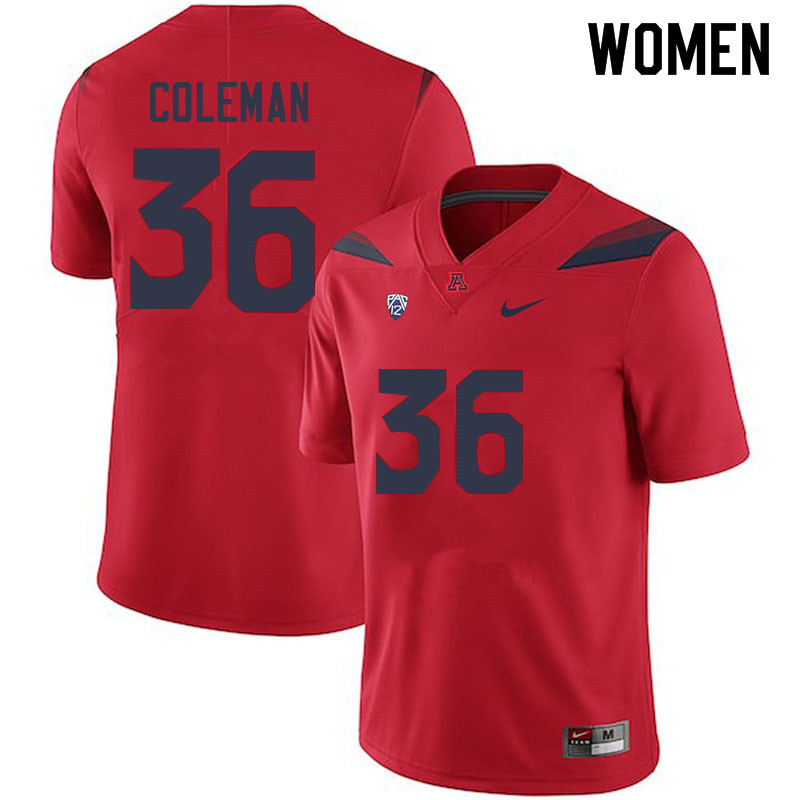 Women #36 Bryce Coleman Arizona Wildcats College Football Jerseys Sale-Red