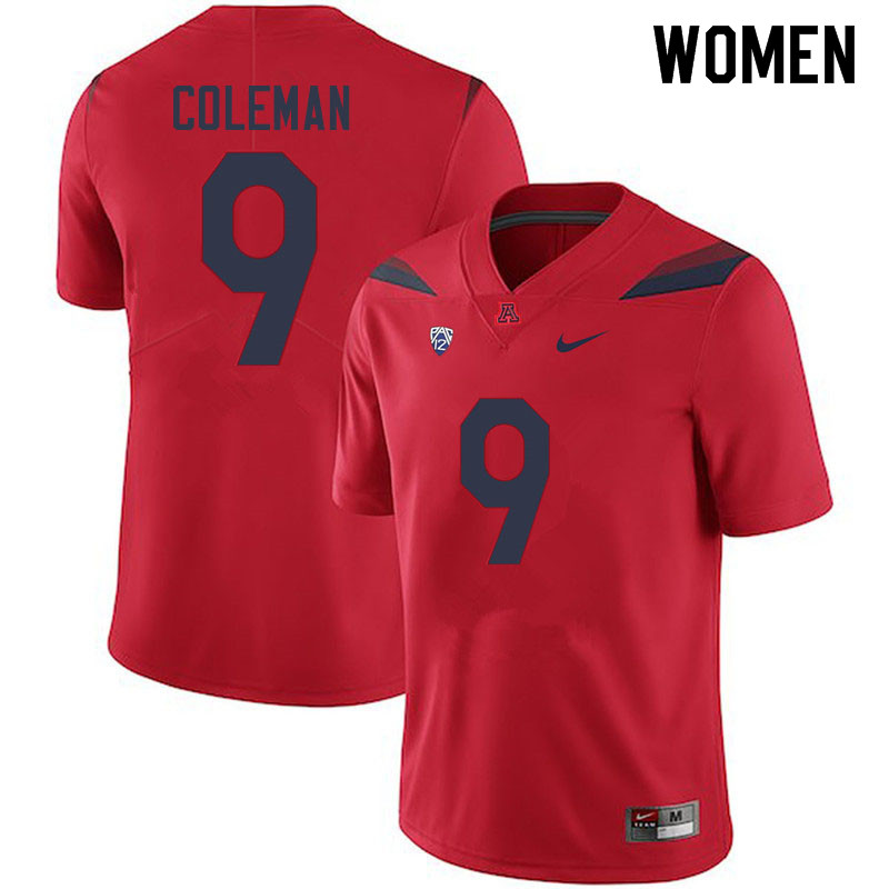Women #9 Day Day Coleman Arizona Wildcats College Football Jerseys Sale-Red