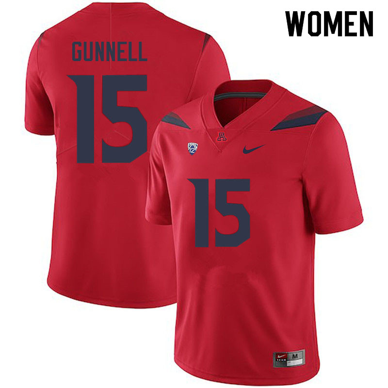Women #15 William Gunnell Arizona Wildcats College Football Jerseys Sale-Red