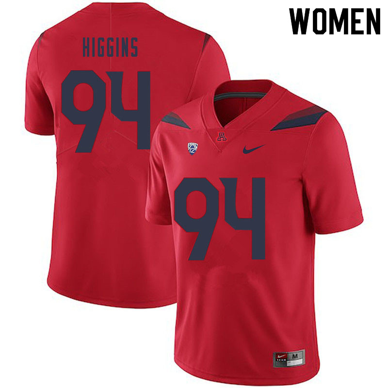 Women #94 Naz Higgins Arizona Wildcats College Football Jerseys Sale-Red
