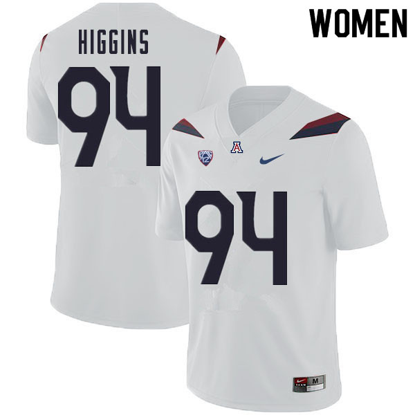 Women #94 Naz Higgins Arizona Wildcats College Football Jerseys Sale-White