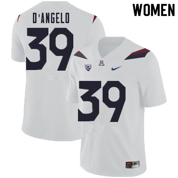 Women #39 Tristen D'Angelo Arizona Wildcats College Football Jerseys Sale-White