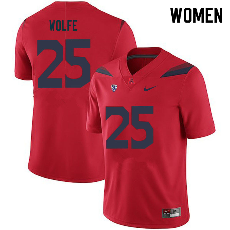 Women #25 Bobby Wolfe Arizona Wildcats College Football Jerseys Sale-Red