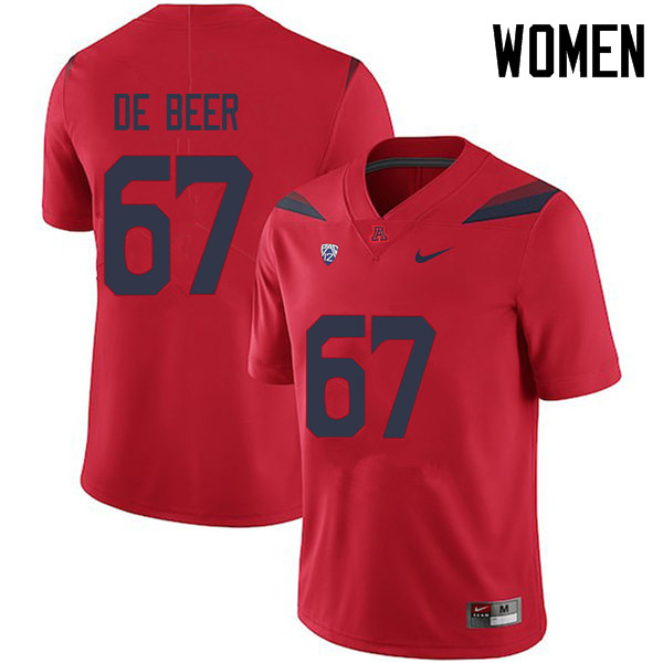 Women #67 Gerhard de Beer Arizona Wildcats College Football Jerseys Sale-Red