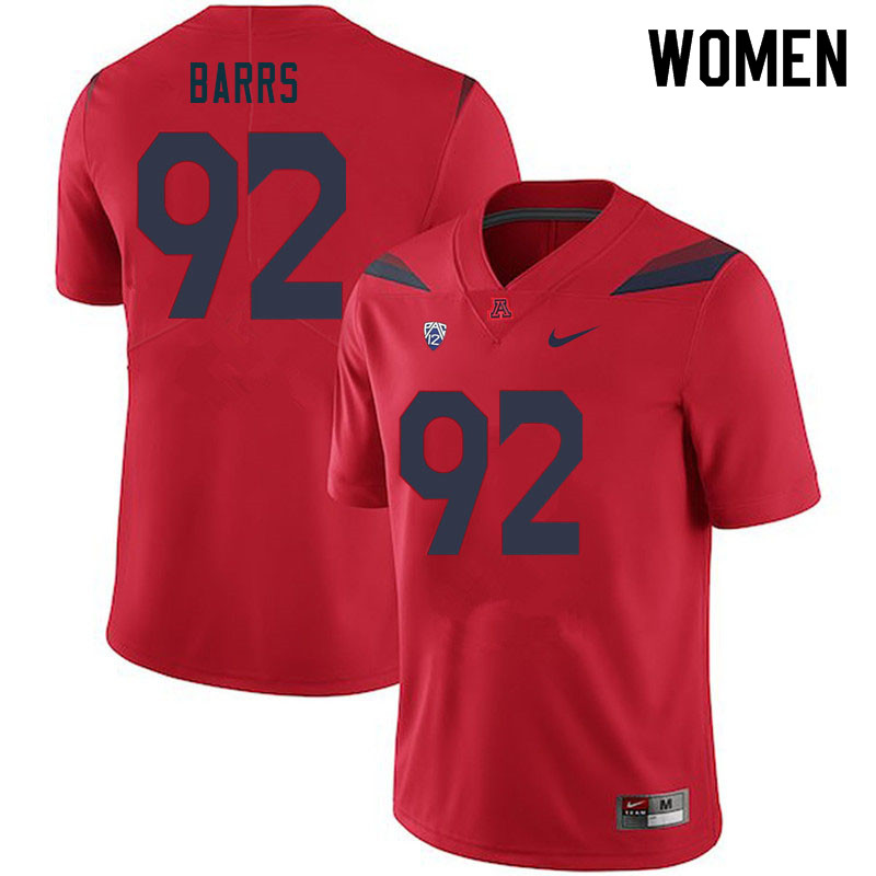 Women #92 Kyon Barrs Arizona Wildcats College Football Jerseys Sale-Red