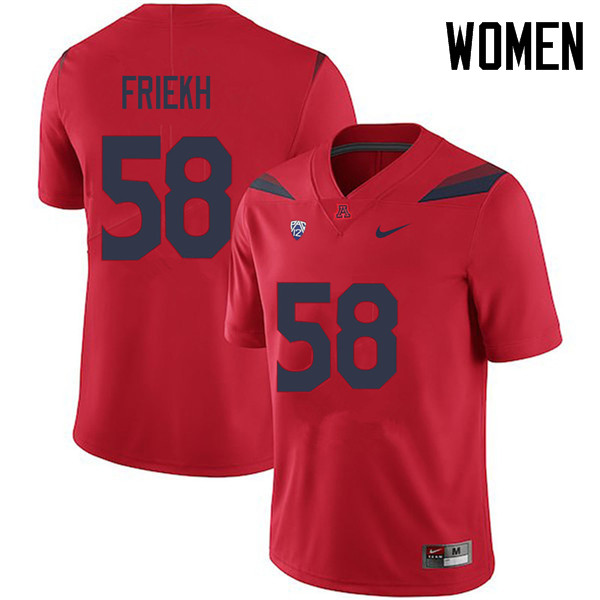Women #58 Layth Friekh Arizona Wildcats College Football Jerseys Sale-Red