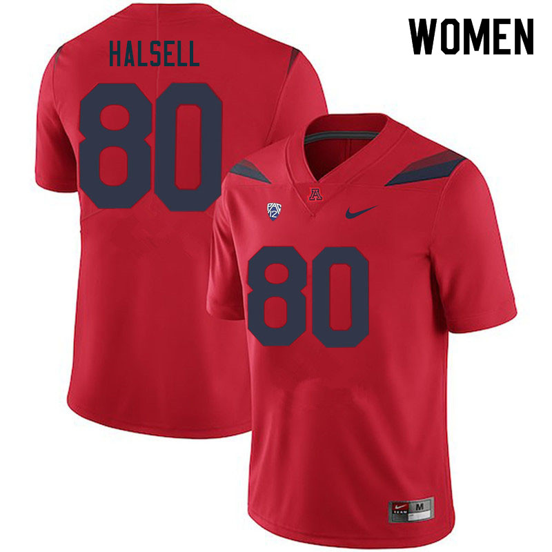 Women #80 Nathan Halsell Arizona Wildcats College Football Jerseys Sale-Red