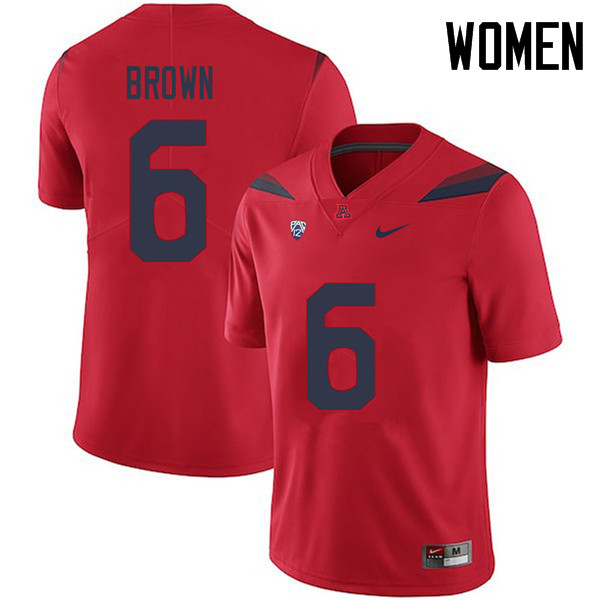 Women #6 Shun Brown Arizona Wildcats College Football Jerseys Sale-Red