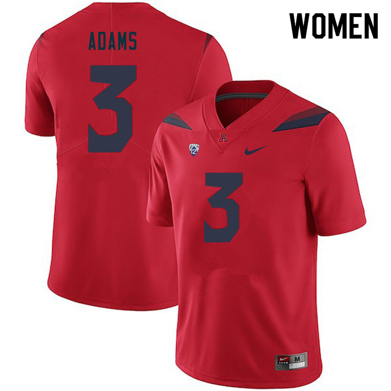 Women #3 Tre Adams Arizona Wildcats College Football Jerseys Sale-Red