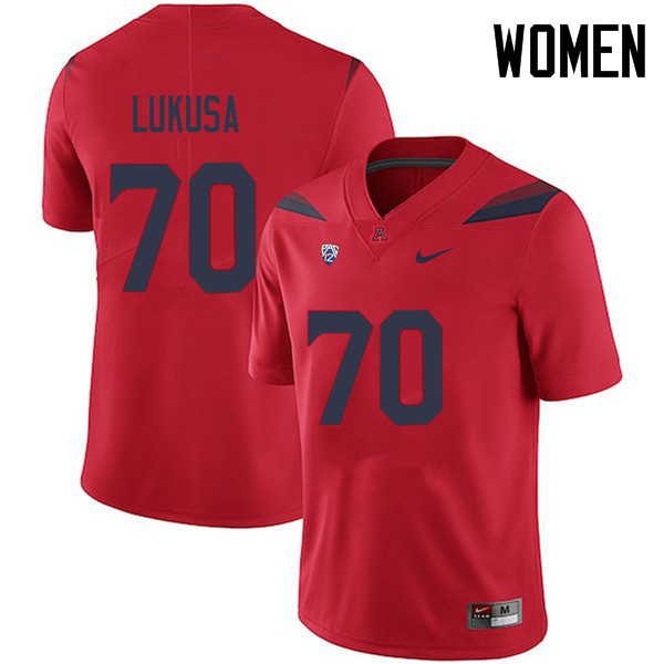 Women #70 Tshiyombu Lukusa Arizona Wildcats College Football Jerseys Sale-Red