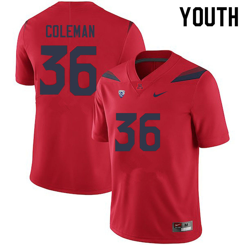 Youth #36 Bryce Coleman Arizona Wildcats College Football Jerseys Sale-Red