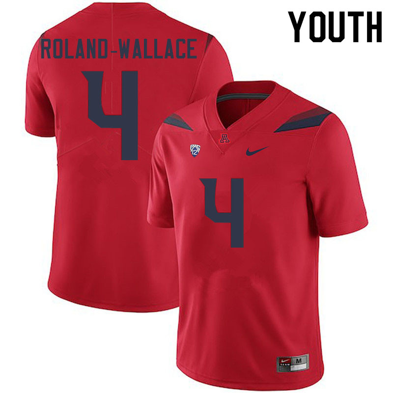 Youth #4 Christian Roland-Wallace Arizona Wildcats College Football Jerseys Sale-Red