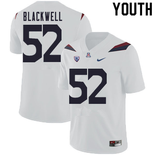 Youth #52 Aaron Blackwell Arizona Wildcats College Football Jerseys Sale-White
