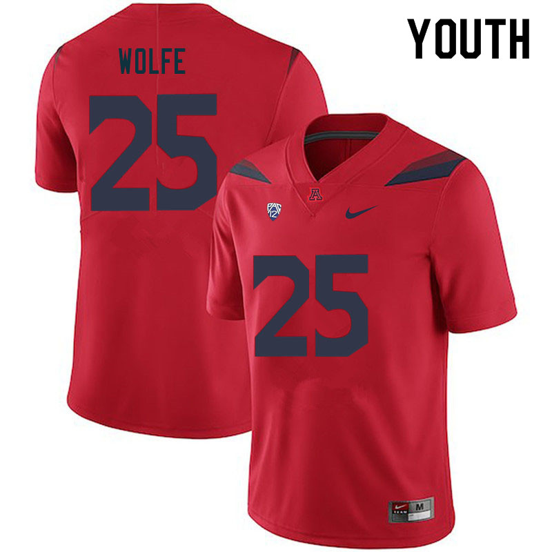 Youth #25 Bobby Wolfe Arizona Wildcats College Football Jerseys Sale-Red