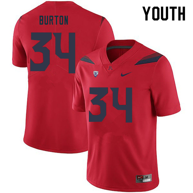 Youth #34 John Burton Arizona Wildcats College Football Jerseys Sale-Red
